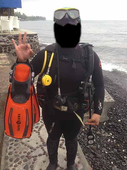 Satu set perlengkapan diving